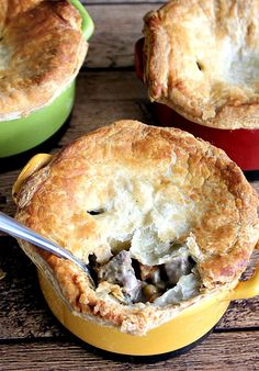 Homemade Beef Pot Pies. A rich hearty filling with beef and vegetables inside a light flaky crust.