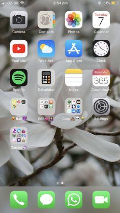 Iphone home screen layout, iphone layout, phone organization, folder organization, wallpaper app Iphone Home Screen Layout, Iphone App Layout, Whats On My Iphone, Phone Organization, Folder Organization, Organization Ideas, Wallpaper App, Wallpapers, Apps