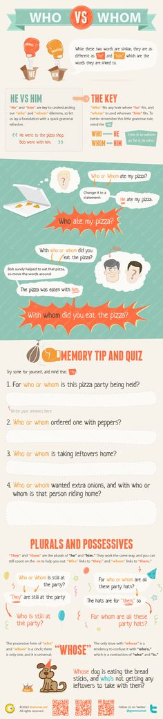 Aprende inglés: who vs whom #infografia #infographic #education