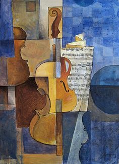 Items similar to Cubist painting - Violin Fine Art Print of origina oil painting on Etsy Cubist Paintings, Cubist Art, Abstract Art, Georges Braque, Art Gallery, Jazz Art, Music Painting, Henri Matisse, Art Plastique