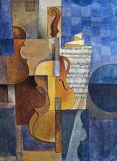 Violin - cubist painting