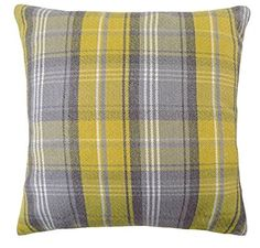 Stirling Tartan Check Evans Lichfield Yellow Grey Wool Look Cushion Cover Tartan, Plaid, Stirling, Cushions, Evans, Throw Pillows, Wool, Yellow, Grey