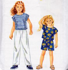 Simplicity 9467, Girls Size 2 to 6X, Pull On Pants, Pull On Shorts and Raglan Short Sleeve Pullover Top Pattern, Easy to Sew For Girls by OnceUponAnHeirloom on Etsy