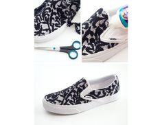 DIY Lace Slip-On Sneakers