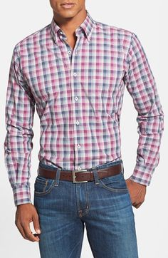 Peter Millar Regular Fit Mélange Plaid Sport Shirt available at #Nordstrom