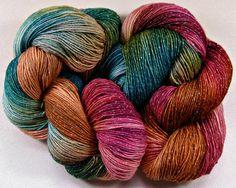 Amish Quilt Hand-dyed Superwash Merino/Lurex Yarn by yarnwench