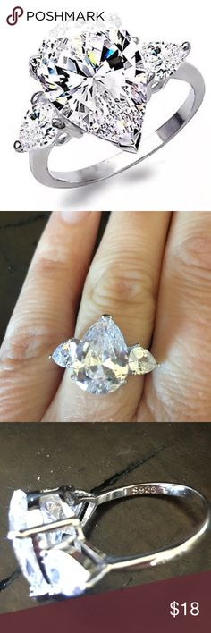 Pear Shaped White Sapphire CZ Sterling Silver Ring Pear Shaped White Sapphire CZ Sterling Silver Ring Jewelry Rings