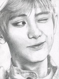 Wink by FallThruStardust on DeviantArt - yasmin Kpop Drawings, Cool Art Drawings, Pencil Drawings, Art Sketches, Chanbaek Fanart, Kpop Fanart, Exo Chanyeol, Exo Fan Art, Sketch Painting