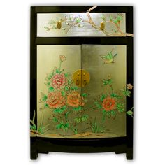 "35"" Black Lacquer Chest with Colorful Hand Paintings on Gold Leaf Chinese Furniture"