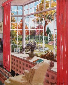 "Vintage September, 1931 The American Home magazine cover   A vibrant watercolor painting depicts a fantastic view of a fall garden through a large bay window. This is such a gorgeous room.  This original magazine cover measures 8.5 x 11"". It was quite torn and tattered on the edges, requiring me to trim off quite a bit or risk having the tears get worse. You can still see one at the top that goes through the H in Home. Even so, the art is sensational and is too good to miss. I recommend…"