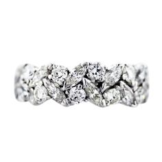 3.5 carat Platinum Marquise and Round Diamond Eternity Band Ring, marquise wedding ring