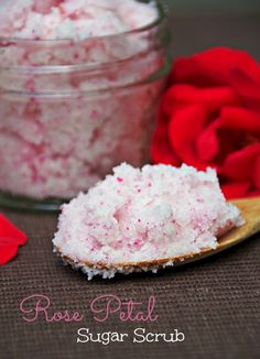 Rose Petal Sugar Scrub Makes a Great DIY Mothers Day Gift or a homemade gift idea for any special person in your life!