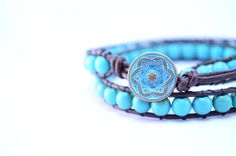 Turquoise Wrap Bracelet  Bohemian Style Genuine by PeachLeaves