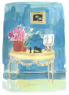 watercolor sketch by Virginia Johnson from The Perfectly Imperfect Home by Deborah Needleman