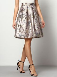 Floral Flare Skirt Shiny Short Skirt