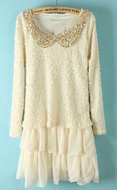 White Long Sleeve Lace Sequined Tiered   SKU:  dress13012206  $35.00  www.sheinside.com