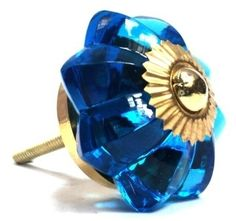 GLASS FLOWER KNOB WITH GOLD ACCENT by Modelli
