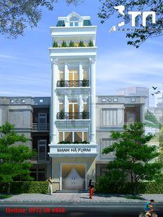 Phối cảnh 1: Nhà phố 5 tầng tân cổ 5x12m 3 phòng ngủ.