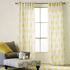 Ooh I like these curtains! I don't think they're too distracting for behind the Tv but who knows what T thinks Polka Dot Curtains, Cute Curtains, Yellow Curtains, Panel Curtains, Bedroom Curtains, West Elm Curtains, Home Fashion, Spring Blooms, Living Room Grey