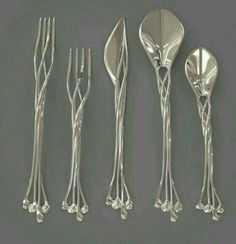 Funny pictures about Elven Cutlery Set. Oh, and cool pics about Elven Cutlery Set. Also, Elven Cutlery Set photos. Art Nouveau, Art Deco, Design 3d, Print Design, Jugendstil Design, 3d Prints, Flatware Set, Silverware Sets, Wedding Silverware