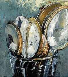 Kelley Somer: Table Manners - would love this in a kitchen. Painting Still Life, Still Life Art, Paintings I Love, Pics Art, Painting Inspiration, Art Lessons, Painting & Drawing, Cool Art, Art Drawings