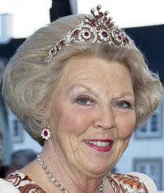 Queen Beatrix of the Netherlands wearing the Ruby Peacock Tiara