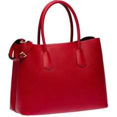 Prada Saffiano Cuir Leather Tote ($1,530) ❤ liked on Polyvore featuring bags, handbags, tote bags, genuine leather purse, prada purses, leather tote, prada tote and red purse