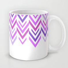 Purple Mug -  Coffee Cup - Purple Arrow Art - White and Purple - ZigZag - Made to Order (30.00 USD) by ShelleysCrochetOle
