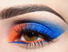 blue/orange eyeshadow blue eyeliner --- a very extreme color-blocked look that I'll have to put my own twist on
