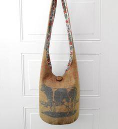 Hobo Bag Sling Bag Cross Body Bag Burlap Vintage by 2LeftHandz