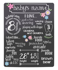 Look at this Black Floral Baby's Highlights Chalkboard on #zulily today!