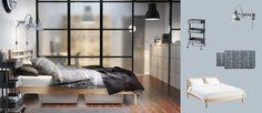 TARVA seng i massiv furu med DILLING sengeskuffer og BJÖRNLOKA RUTA dynetrekk og putevar i svart/hvitt