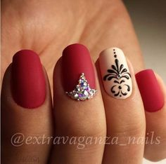 96 Awesome Red Nail Art Ideas, Nail Design Red Nails Coffin Acrylic Designs Art Ideas, Amazing Red Nail Art Designs & Ideas for Girls 2013 90 Red Nail Art Designs 2019 Best Manicure Ideas Nailsstock, Look at these Red Nail Art Ideas. Beautiful Nail Art, Gorgeous Nails, Love Nails, Pretty Nails, My Nails, Bling Nails, Nail Art Arabesque, Red Nail Art, Red Nail Designs
