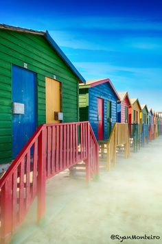 Misty morning surfers huts, in Muizenberg ,Cape Town. Beach Cabana, Beach Huts, Hut House, Apartheid Museum, Cape Town, South Africa, Places Ive Been, Beautiful Homes, Surfing