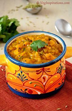 Kaddu ka bharta ~ Vegan butternut squash curry ~ Pumpkin curry ~ Vegan and gluten free recipe ~ Vegan side dishes for flat bread. Orange Vegetable Recipes, Vegetable Dishes, Veggie Recipes, Whole Food Recipes, Vegetarian Recipes, Vegan Indian Recipes, Spicy Recipes, Slow Cooker Recipes, Crockpot Recipes