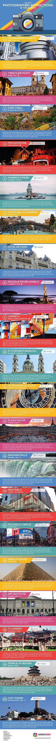 The Most Photographed Attractions In The World Infographic #camera #photography