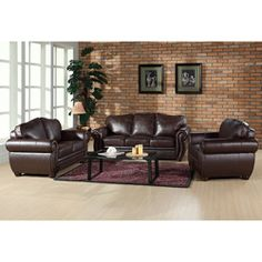 @Overstock - Luxurious premium Italian leather upholstery highlights this magnificent sofa, loveseat, and armchair set. This furniture set features hardwood construction and brass-colored nail-head trims.  http://www.overstock.com/Home-Garden/Richfield-Premium-Italian-Leather-Sofa-Loveseat-and-Armchair-Set/5954223/product.html?CID=214117 $2,347.99