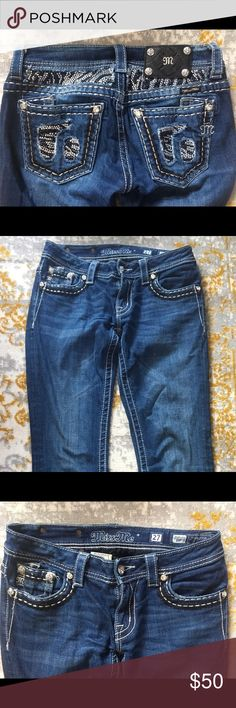 Miss Me Jeans💎💎 My favorite and most comfortable jeans ever owned--- dark wash, gently worn, extra long Miss Me Jeans Boot Cut