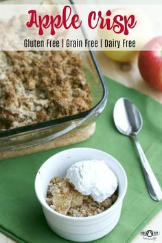 This Apple Crisp recipe doesn't contain any flour or oats but is just as delicious! Paleo, Low Carb, Vegan, Gluten Free, Grain Free, Dairy Free I was asked recently what my favourite dessert was. My first answer is always, carrot cake! But my next favourite is actually apple crisp! I love warm apple crisp with ... Read More about Gluten Free Dairy Free Apple Crisp