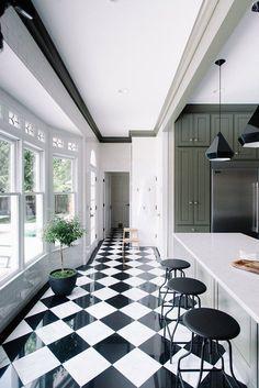 Sage Green kitchen with monochrome tiled floor by Gwen The Makerista Kitchen black and white tiles Home Interior, Kitchen Interior, Interior Design, Black And White Tiles, Black White, Black And White Flooring, White Marble, Kitchen Themes, Green Kitchen