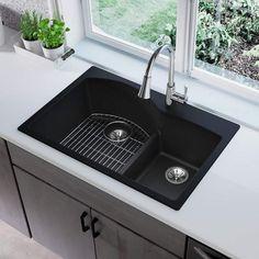 Elkay Quartz Classic 33 L x 22 W Double Basin Drop-In Kitchen Sink with Aqua Divide Finish: