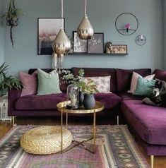 Colourful Living Room, Living Room Green, Boho Living Room, Living Room Sofa, Home And Living, Small Living, Boho Room, Modern Living, Home Decor Ideas