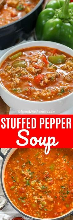 Stuffed Pepper Soup is an easy soup recipe. In this family favorite, ground beef and sausage is simmered along with bell peppers, tomatoes and seasonings. Add in rice to serve. It freezes well and reheats beautifully! recipes with ground beef Diet Soup Recipes, Crockpot Recipes, Cooking Recipes, Paleo Soup, Stuffed Pepper Soup, Stuffed Peppers, Cabbage Diet, Slow Cooker, Soup And Sandwich