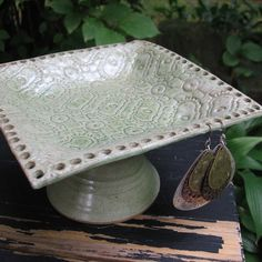 Lace+Pottery+Square+Pedestal+Earring+Jewelry+Bowl+by+sheaclay