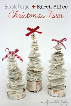 Book Page and Birch Tree Scrappy Christmas Trees from View From The Fridge