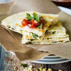 Smoky poblano peppers and sweet corn kernels form the perfect filling for these goat cheese quesadillas!