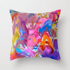 Bright Abstract Colorful Pillow Cover with by TheArtwerks on Etsy, $39.99