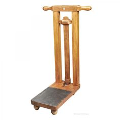 A portable beechwood Freestanding Boot Jack by Peal & Co. set up Campaign Furniture, Horse Stuff, Different Colors, Trunks, Boxes, Mountain, Colour, Antiques, Room