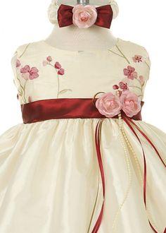 Ivory Burgundy Floral Embroidery Infant Dress