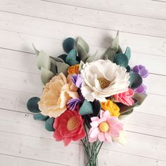 Updates from thegreyrose on Etsy Felt Flower Bouquet, Felt Flowers, Diy Flowers, Fabric Flowers, Paper Flowers, Pink And Gold Decorations, Flower Decorations, Floral Nursery, Nursery Decor